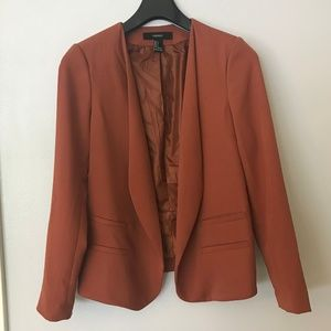 Forever 21 Rust Longline Suit Jacket Blazer
